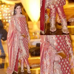 Peachy silk churidar with heavy dupatta and off shoulders Shadi Dresses, Pakistani Formal Dresses, Pakistani Wedding Outfits, Pakistani Dress Design, Bridal Outfits, Indian Dresses, Indian Outfits, Indian Clothes, Indian Designer Suits