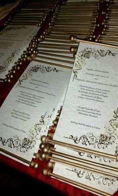 Scroll wedding invitations by TwoOccasionsDesigns on Etsy Scroll Wedding Invitations, Quince Invitations, Scroll Invitation, Wedding Stationery, Wedding Planner, Fairytale Wedding Invitations, Masquerade Wedding Invitations, Masquerade Theme, Invitation Ideas