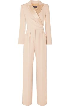 Max Mara Silk Satin-Trimmed Cady Wrap Jumpsuit In Pink Max Mara, Hijab Fashion, Fashion Dresses, Wrap Jumpsuit, Tailored Jumpsuit, Mode Hijab, Overall, Elegant Outfit, Work Attire