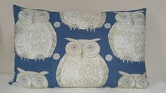Owl Cushion - - Blendworth Fabric by Kushions on Etsy Owl Cushion, Bed Pillows, Cushions, My Etsy Shop, Unique Jewelry, Handmade Gifts, Patterns, Creative, Fabric