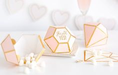 Wedding Candy Box, She Said Yes Diamond Favor Boxes, Pink and Gold Favor Boxes, Cute Wedding Favor Boxes, Diamond Shaped Boxes for Favors Unique Wedding Favors, Unique Weddings, Wedding Gifts, Wedding Candy Boxes, Bachelorette Favors, Bridal Party Jewelry, Guest Gifts, Colorful Party, Shops