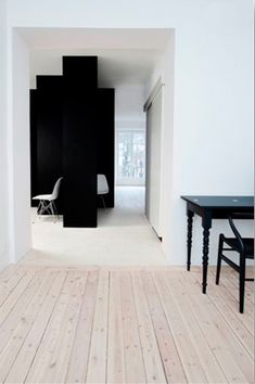 black + white + wooden floor