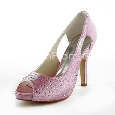 Women's Satin Cone Heel Peep Toe Platform Sandals With Rhinestone(370-34)