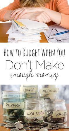 How to budget when you don't make enough money. Finance, saving money, making money, money hacks, shopping hacks, finance tips…
