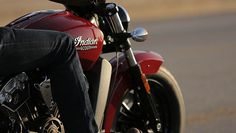 An up-close shot of the all-new Indian Scout in Indian Red.
