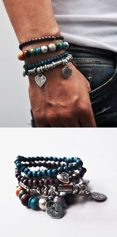 Accessories :: Bracelets :: Exotic Caribean Pirate Lots of 4 Beads-Bracelet 72 - Mens Fashion Clothing