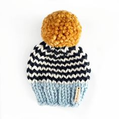 Nickichicki knitwear baby hat baby beanie pompom hat winter baby due in December due in November baby shower gift made in USA Loom Knitting, Baby Knitting, Crochet Baby, Knitting Patterns, Knit Crochet, Crochet Patterns, Boys Beanie, Knit Beanie, Beanie Hats