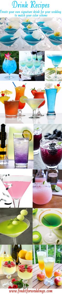 Create a signature drink for your wedding from these drink recipes to match your color scheme. Cocktails and non-alcoholic drink recipes Party Drinks, Cocktail Drinks, Fun Drinks, Yummy Drinks, Colorful Drinks, Drinks Alcohol Recipes, Non Alcoholic Drinks, Drink Recipes, Grog
