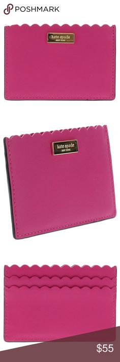Kate Spade Maple Court Graham Leather Card Holder ~Brand New~ Smooth leather credit card holder with gold toned Kate Spade logo plate on front Scalloped edged across top of slots One main slip pocket; two credit card slots on back Approx. dimensions: 4.25 inches L x 3 inches H kate spade Accessories Key & Card Holders