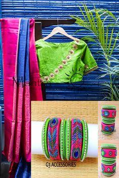 Silk thread bangle and silk saree maching color Silk Thread Bangles Design, Silk Bangles, Gold Bangles Design, Saree Jewellery, Thread Jewellery, Fabric Jewelry, Diy Fashion Videos, Dress Neck Designs, Blouse Designs