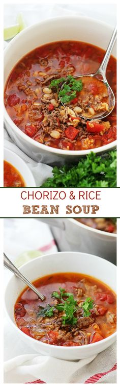 Chorizo and Rice Bean Soup – Spicy chorizo sausage adds amazing flavor to this easy, warm and comforting Bean Soup.