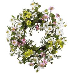 Faux dogwood wreath with greenery and blossoms in a white, pink, and green palette. Product: Wreath  Construction Material...