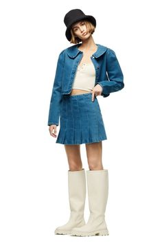 Zara Box Pleat Denim Skirt Box Pleat Skirt, Pleated Skirt, Denim Skirt, Slip Skirts, Cute Skirts, Spring Skirts, Spring Outfits, Jackets, Trends