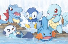 The Water Starters by zimmay.deviantart.com