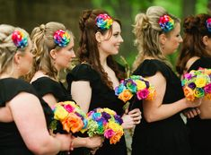 Rainbow accessories and flowers for the bridesmaids