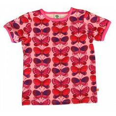 vlindert-shirt in roze, paars en rood