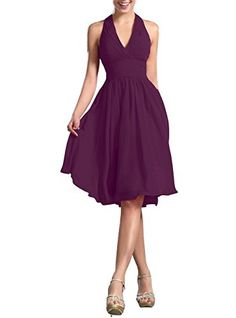 CaliaDress Women Elegant Halter Neck Bridesmaid Dress Formal Prom Gowns Short C200LF Plum US6 ** See this great product.