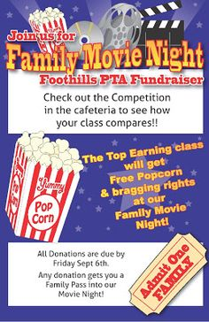 Movie Night! Our PTA Fundraiser ~ Foothills Elementary PTA
