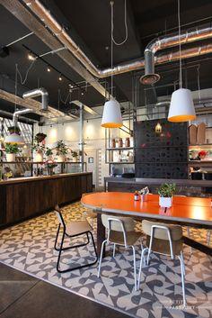 cafe #tiledfloor #orange #darktimber