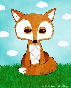 Fox Art - Cute Fox Print, Children's Art, Kids Wall Art, Baby Decor, Woodland Nursery Art, Blue And Green With Orange Fox,  Little Boy Room. $18.00, via Etsy.