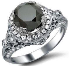 2.35ct Black Round Diamond Engagement Ring 14k White Gold
