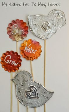 Adorable & so easy Metal Embossed flower pot stakes!