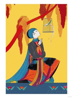Bird and Kneeling Girl Art Print at AllPosters.com