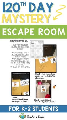 Want to make a HUGE impact this 120th Day School Day? Use these step-by-step instructions to guarantee student engagement while they learn about how to work as a team to solve a mystery, engage in 100th Day themed activities and ESCAPE THE CLASSROOM! With a little prep, your kindergarten, 1st, or 2nd grade students will work as a team to break into a box, which breaks them out of the classroom as they beat the clock to solve a missing dog mystery! #escaperoom #firstgradeactivities…