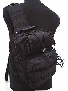 Tactical Utility Gear Shoulder Sling Bag Black M