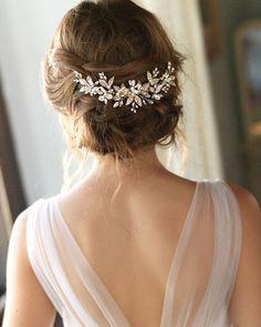 Pearl Bridal Comb, Pearl Wedding Hair Comb, Floral Bridal Hair Comb, Bridal Accessory, Bridal Back Piece, Wedding Back Comb, Bride - 7012 by DarethColburnBridal on Etsy https://www.etsy.com/listing/550045094/pearl-bridal-comb-pearl-wedding-hair