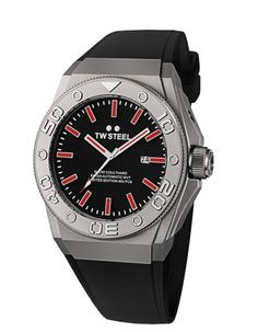 TW Steel CEO Diver David Coulthard    From the firm's new CEO Diver collection, this ultra-masculine model is housed in a robust 48mm sandblasted steel case. Its black dial features raised steel indexes complete with red highlights and sports red accented steel hands with the second hand incorporating a red arrow at the tip. Powered by a Swiss Made ETA automatic movement, the watch is water-resistant to 200 meters. Price $1,399