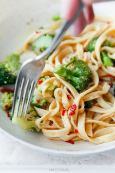Broccoli Chili and Anchovy Pasta