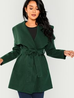 Shop Waterfall Collar Self Belted Coat online. SheIn offers Waterfall  Collar Self Belted Coat   more to fit your fashionable needs. 1c2d3dcfc2d0