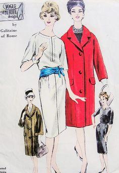 1960s Elegant Slim Dress and Coat Pattern Designer Irene Galitzine Vogue Couturier Design 1014 Vintage Sewing Pattern Bust 36 FACTORY FOLDED...