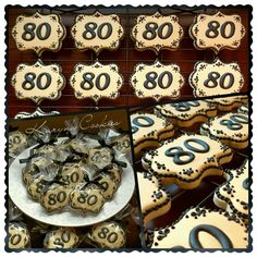Elegant Milestone 80th Birthday Party Cookie Favors 60th Anniversary Parties Celebration