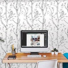 This darling blue and white wallpaper makes a happy chic look in your nursery. Our peel and stick baby wallpaper is print Temporary Wallpaper, Baby Wallpaper, Wood Wallpaper, Self Adhesive Wallpaper, Wallpaper Roll, Peel And Stick Wallpaper, Ornament Tapete, Grey And White Wallpaper, Wood Nursery