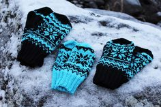 Winter -mittens pattern by Milla H. Fair Isle Knitting Patterns, Crochet Patterns, Fingerless Mitts, Crochet Winter, Mittens Pattern, Crafts To Make And Sell, Knitted Gloves, Beading Tutorials, Knitting Projects