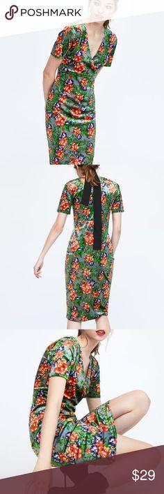 212233aac2e Zara Velvet Floral Midi Bodycon Dress Authentic Zara Dress in Size Small.  Stretchy Fabric