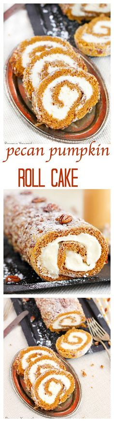 Pecan pumpkin roll cake recipe A classic fall dessert, pecan pumpkin roll cake with smooth cream cheese filling is a must at our Thanksgiving table. One bite and you'll understand why! Pumpkin Roll Cake, Pumpkin Pecan Pie, Pumpkin Dessert, Pumpkin Recipes, Pumpkin Rolls, Pumpkin Bread, Cake Roll Recipes, Dessert Recipes, Bread Recipes