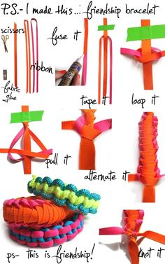 marni-esque friendship bracelet things-to-diy Cute Crafts, Crafts To Do, Crafts For Kids, Arts And Crafts, Diy Crafts, Ribbon Crafts, Diy Ribbon, Ribbon Candy, Do It Yourself Baby