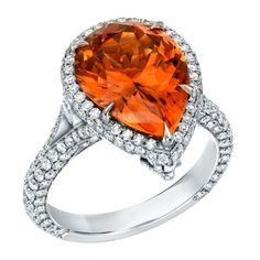 Tamir Notable Mandarin Garnet And Diamond Platinum Detachable Ring - Pendant.
