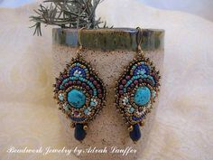 Bead Embroidery Earrings Turquoise and Garnets In by AdvaDesigns