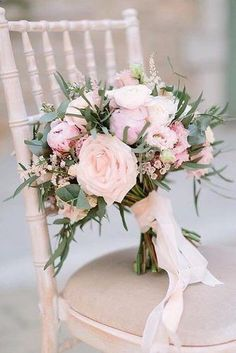 Hottest 7 Spring Wedding Flowers to Rock Your Big Day---peonies and garden roses wedding bouquet with blush ribbon and greenery, spring wedding ideas, diy wedding flowers wedding flowers Hottest 7 Spring Wedding Flowers to Rock Your Big Day Cheap Wedding Flowers, Spring Wedding Flowers, Bridal Flowers, Flower Bouquet Wedding, Floral Wedding, Wedding Colors, Ribbon Wedding, Blush Bouquet, Diy Bouquet