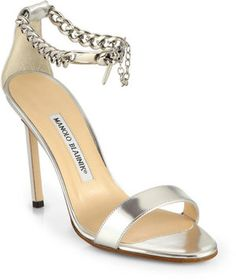 Manolo Blahnik 'Chaos' Metallic Leather Ankle Chain Sandals via Nordstrom