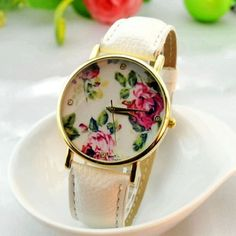 $ 4.79 + free shipping! Red Flowers Printed Dial Lady's Quartz Dress Watch