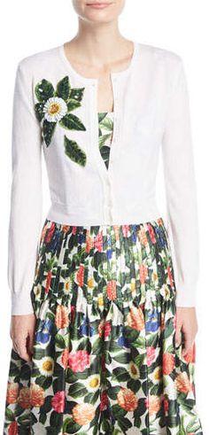 Oscar de la Renta Button-Front Wool Cardigan w/ Beaded Floral Detail (ad)
