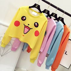 5 Colors Kawaii Pikachu Printing Top Source by cospicky clothing Harajuku Fashion, Kawaii Fashion, Cute Fashion, Asian Fashion, Fashion Outfits, Korea Fashion, Fashion Clothes, Ropa Color Pastel, Printed Sweatshirts