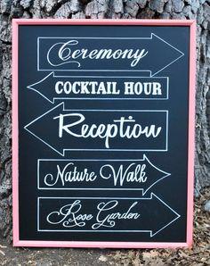 Customizable Hand Drawn Chalkboard // Wedding Direction Sign // Arrows // Artwork by Mystics and Mint via Etsy