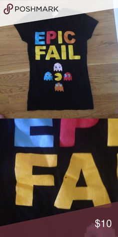 Pac man epic fail T-shirt Bought from another posher but it is tragically too small.  Size not on tag, but would call this an x-small or juniors small. Defect on A as shown in pic 2 (small hole) Tops Tees - Short Sleeve
