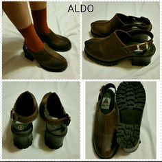 "Aldo shoes in brown Leather upper, gripslip sole Made in Romania  2 3/4 "" high  Rarely worn Not in the original box shoes Like new Perfect condition ALDO Shoes"
